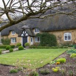 Traditional thatched cottage garden