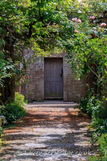 garden door under pergola