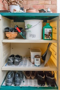 Inside the garden utility cabinet