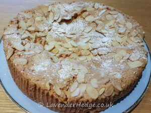 apple dessert cake with flaked almonds